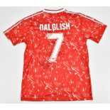 LIVERPOOL FC; a retro-issue Adidas home shirt with Candy logo, signed by Sir Kenny Dalglish with