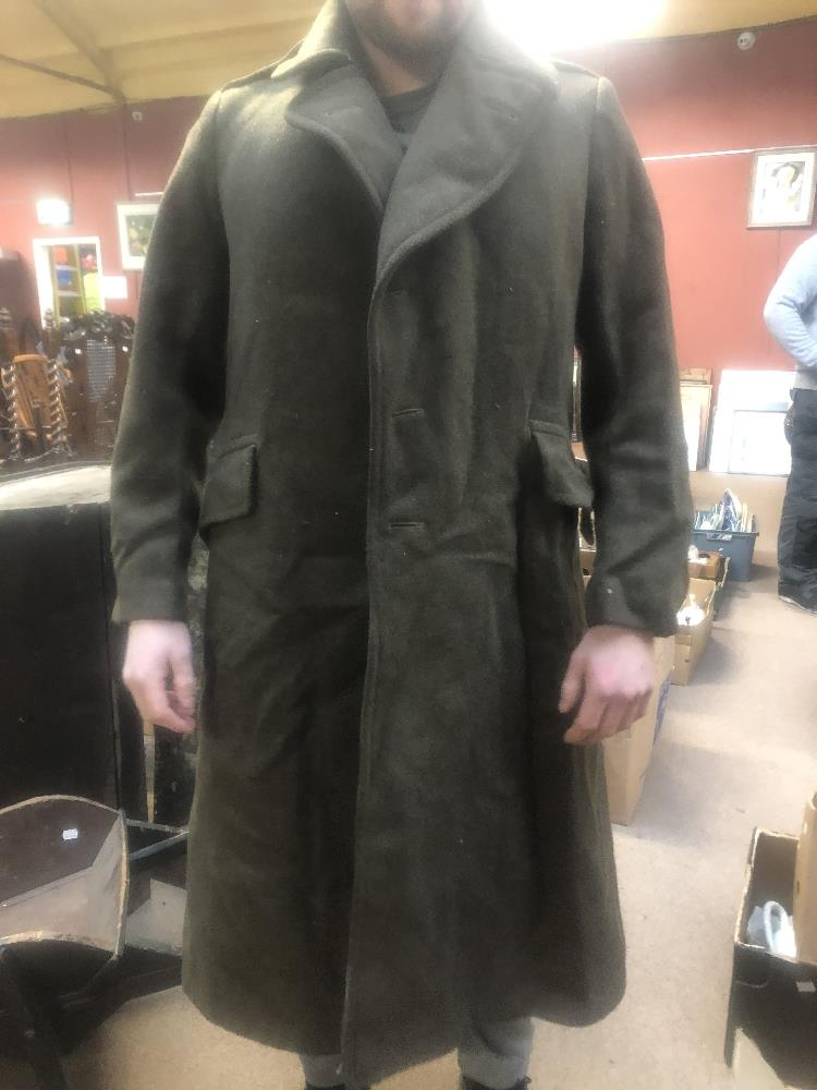 Three military greatcoats, two khaki and one navy (3). Additional InformationFraying, loose - Image 5 of 6