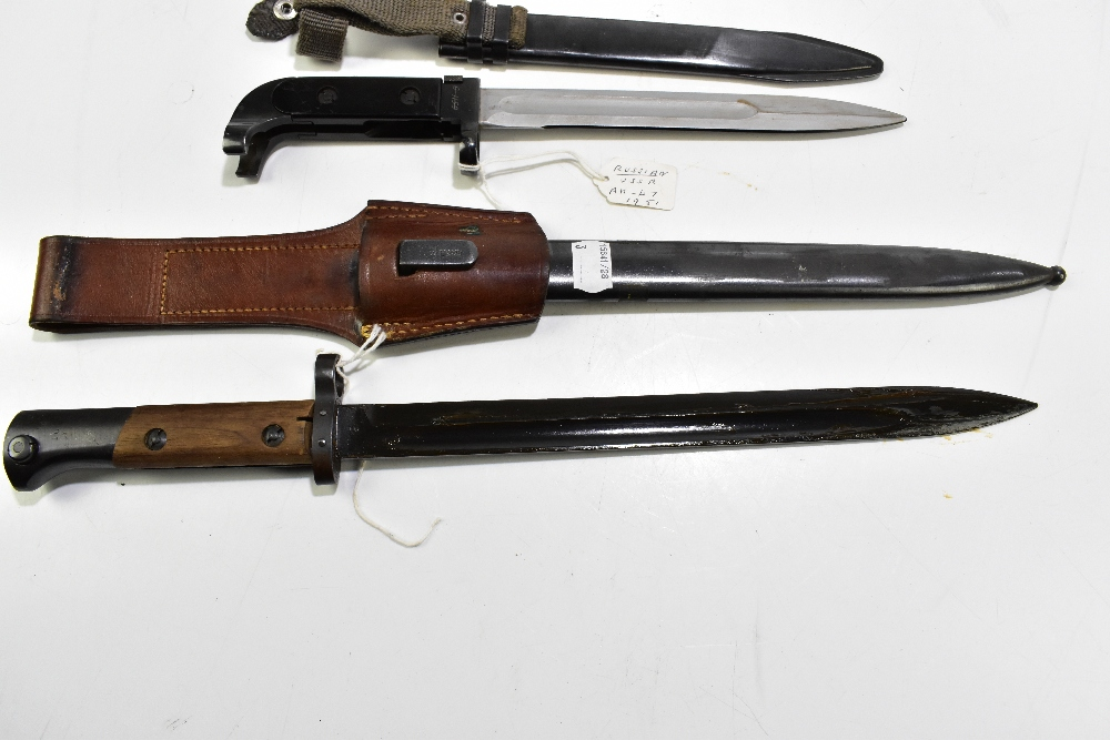 Two Czech VZ58 and VZ24 bayonets and a further Russian 'USSR' AK-47 c1951 bayonet, all with - Image 4 of 4