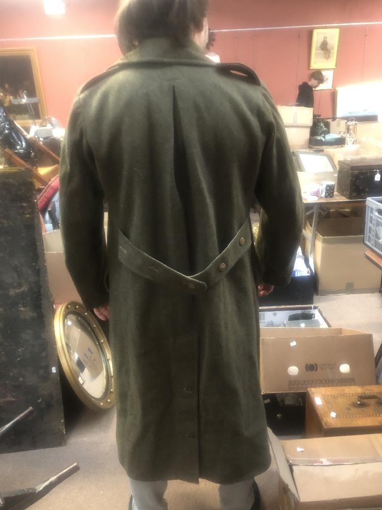 Three military greatcoats, two khaki and one navy (3). Additional InformationFraying, loose - Image 3 of 6