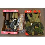 A mixed group of military and military surplus equipment including gas masks, flasks, lamps and