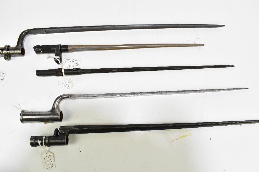 Five socket bayonets comprising South American, Russian, Mosin-Nagant, Chinese Type 56 carbine, - Image 3 of 4