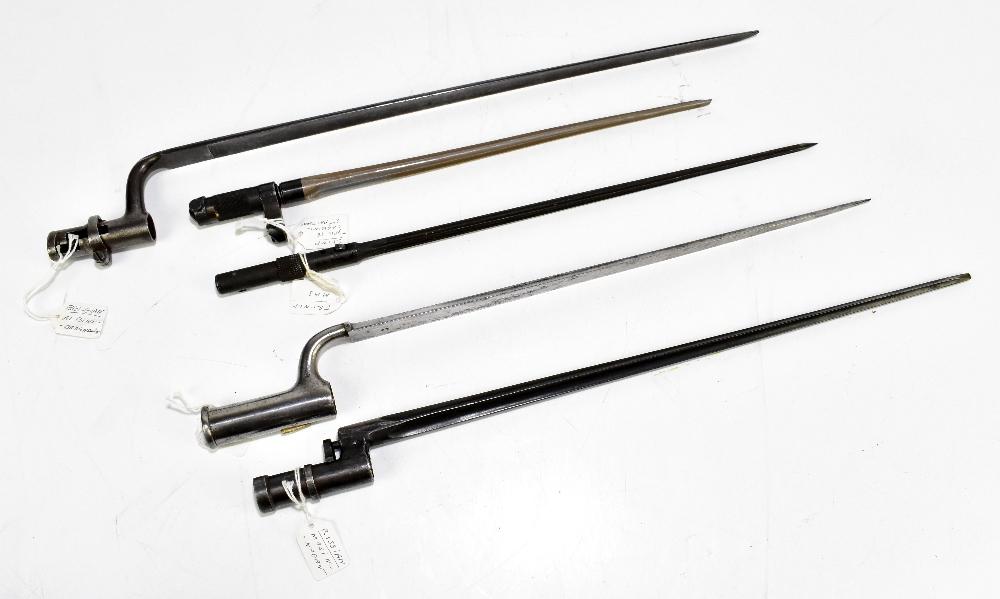 Five socket bayonets comprising South American, Russian, Mosin-Nagant, Chinese Type 56 carbine,