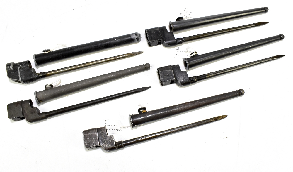 Five British socket bayonets comprising four Mk IIx and one Mk III, all with scabbards (5).