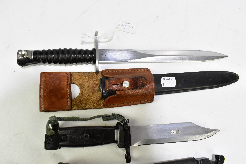 Three bayonets comprising German G3 1959, East German AK-74 (made in USSR) and Swiss Waffen- - Image 4 of 4