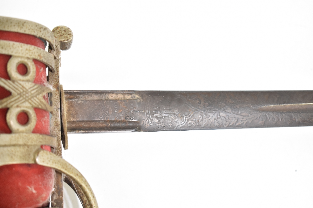 HENRY WILKINSON LONDON; a Scottish Highland Infantry Officer's sword with etched detail to the - Image 2 of 10