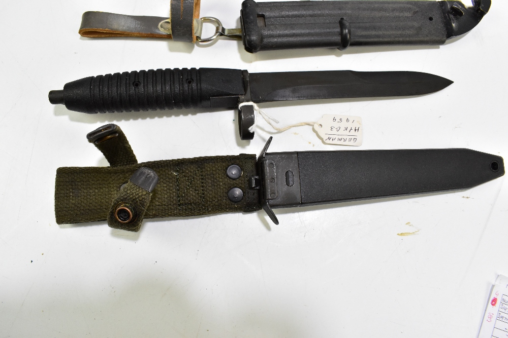 Three bayonets comprising German G3 1959, East German AK-74 (made in USSR) and Swiss Waffen- - Image 2 of 4