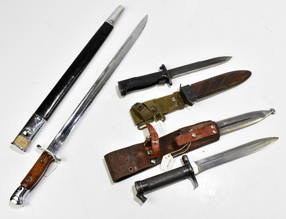 Three bayonets comprising Swedish 1896 Mauser, Sanders of Sheffield 1907 S.M.L.E. R.A.F. dress