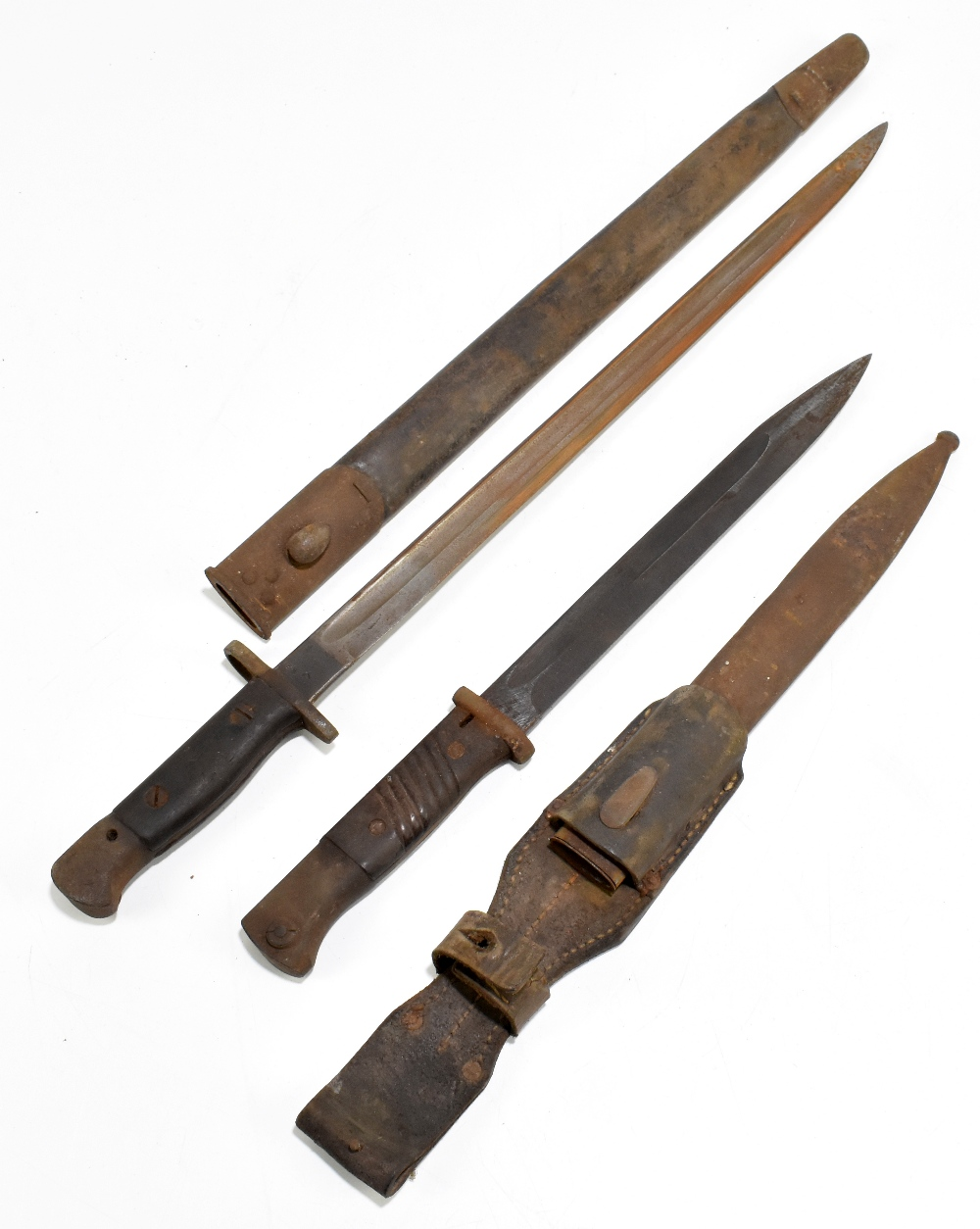 Two bayonets including a 1907 Pattern British example, each complete with scabbard, length of