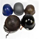 Five military and public service helmets comprising Czechoslovakian MK53 Civil Defence Fire Service,