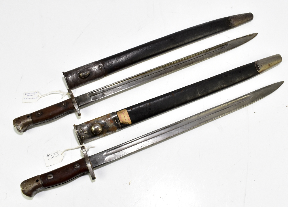 Two British S.M.L.E. 1907 bayonets, one by Sanderson of Sheffield, both with scabbards (2).