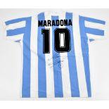 DIEGO MARADONA; a signed Toffs retro-style cotton Argentina home shirt with 'Maradona 10' printing