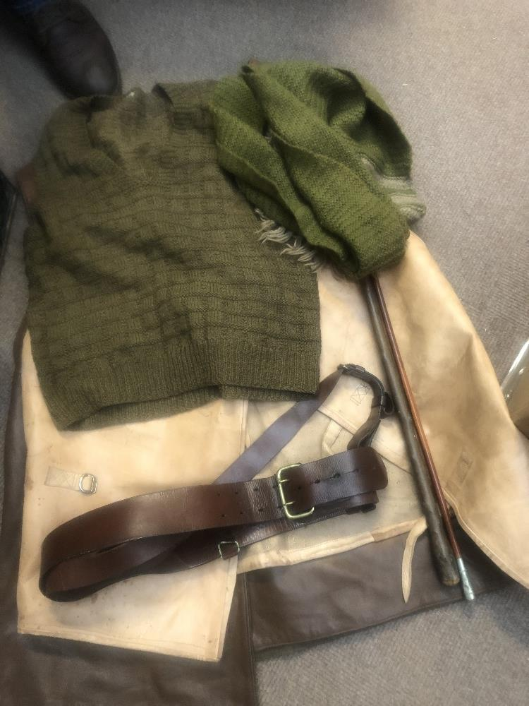 A collection of military uniform and accessories including two woolen great coats, two leather - Image 4 of 6