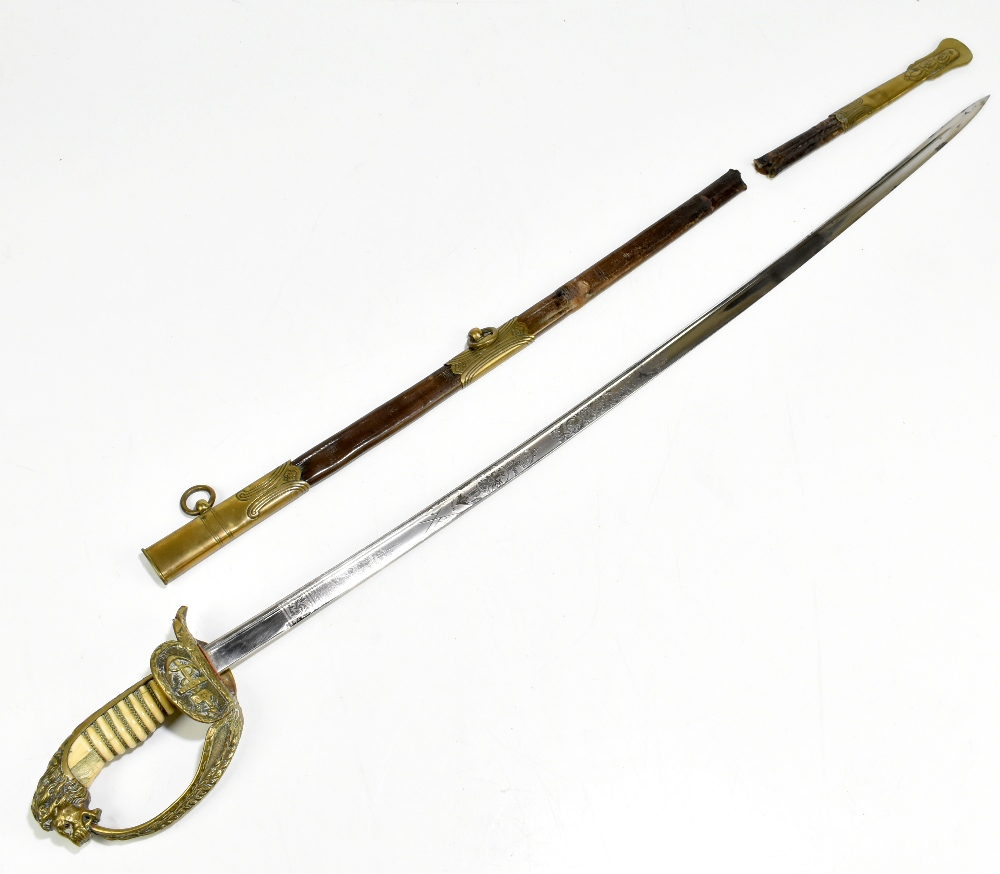 A late 19th/early 20th century Imperial German naval officer's pipeback dress sabre, the blade