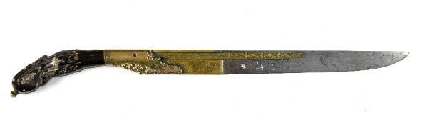 A good quality 19th century knife/dagger, possibly a Sri Lankan piha kaetta, the steel and brass