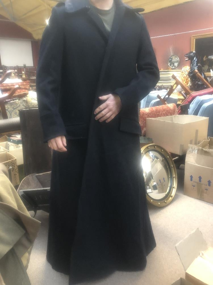 Three military greatcoats, two khaki and one navy (3). Additional InformationFraying, loose - Image 4 of 6