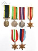Six World War II assorted medals including the Italian Star, the Africa Star, the 1939-45 Star and