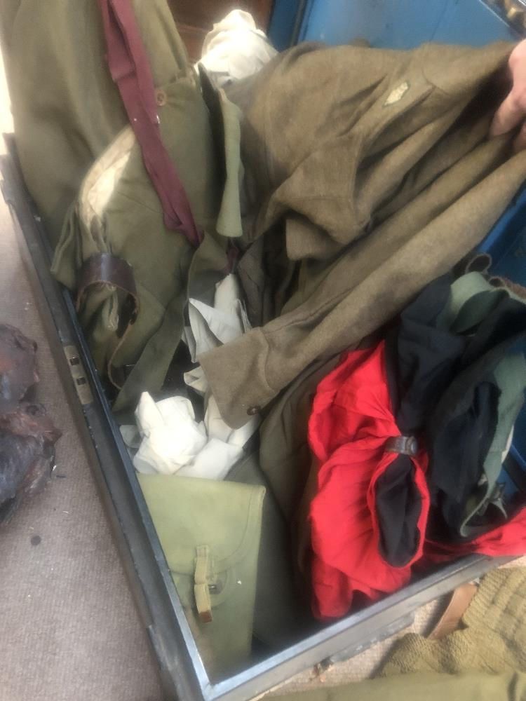 A collection of military uniform and accessories including two woolen great coats, two leather - Image 6 of 6