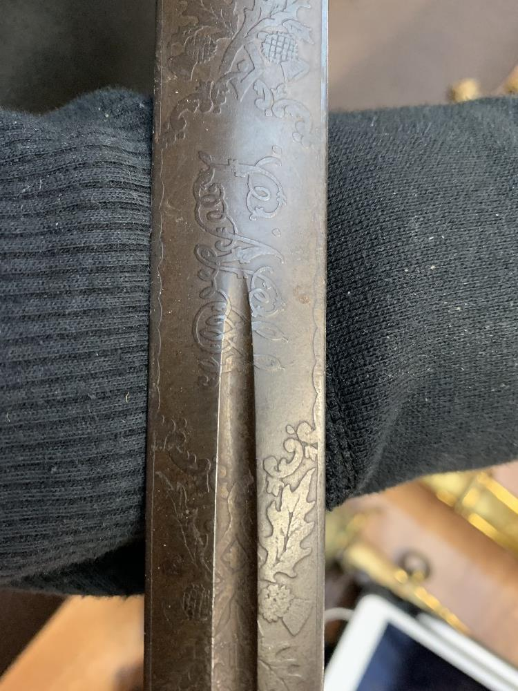 HENRY WILKINSON LONDON; a Scottish Highland Infantry Officer's sword with etched detail to the - Image 10 of 10