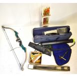 A quantity of archery equipment including a soft cased Target Master 3 bow, various further