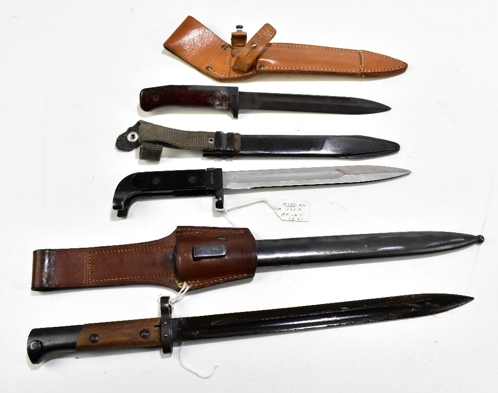 Two Czech VZ58 and VZ24 bayonets and a further Russian 'USSR' AK-47 c1951 bayonet, all with