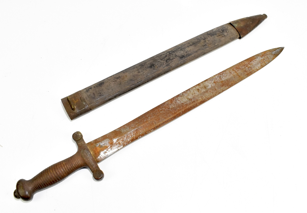 A 19th century French gladius type sword with scabbard, length 66cm.Additional InformationThe