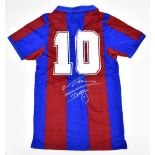 DIEGO MARADONA; a Score Draw FC Barcelona retro-style home shirt with embroidered logo, signed to