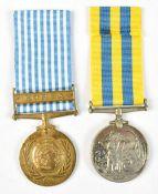 An Elizabeth II Korea and United Nations Korea Medal duo awarded to 203899 Dvr. J.L Semmons (2).