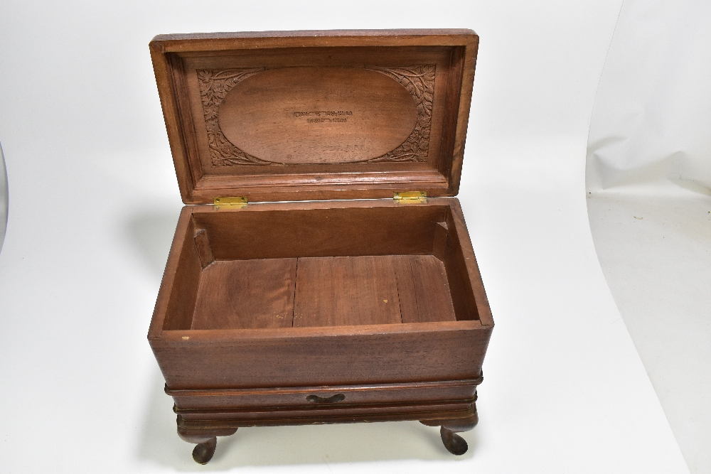 An early 20th century Indian mahogany campaign chest with hinged cover and carved detail, Royal - Image 2 of 3