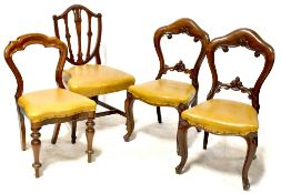 Four Victorian non-matching mahogany dining chairs (4).