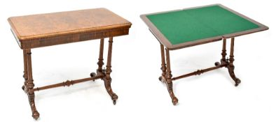 A Victorian burr walnut card table on twin turned pedestal base, united by stretcher,