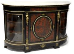 A 19th century marble-top boulle work break-front credenza,