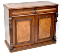 A Victorian mahogany chiffonier comprising a pair of drawers above cupboard doors,