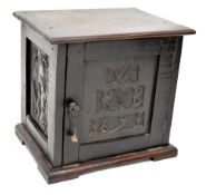 A 17th century and later oak table cabinet, possibly a former spice cabinet,