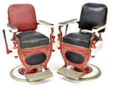 A pair of early 20th century barber chairs by Theo. A. Kochs Co.