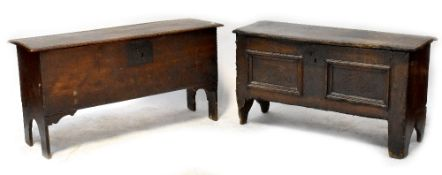 A small slim 18th century oak coffer with two faux front panels with carved arches,