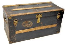 An early 20th century wood bound liner travel trunk with brass name plaque for 'J Mackay',