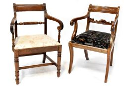 A 19th century mahogany open arm elbow chair with scroll ends and velour upholstered seat,