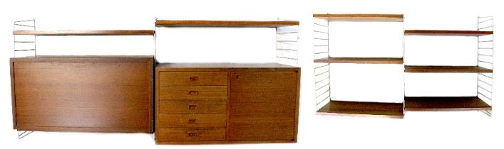 A 1960s retro teak string modular wall hanging system comprising a cupboard and drawer unit,