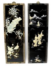 A modern Chinese black lacquered and Chinoiserie decorated pair of panels,