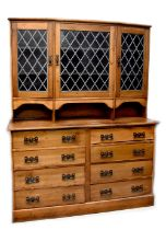 An early 20th century stained pine dresser,