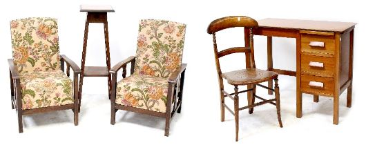 A pair of c1940s Utility-style armchairs with wooden arms, an Edwardian mahogany plant stand,