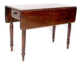 A 19th century mahogany Pembroke table with small drawer to the side,