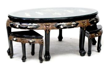 A modern Japanese black lacquer and Chinoiserie decorated table inlaid with hardstone scene of