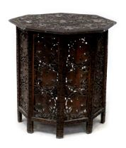 A late 19th century Indian hardwood octagonal table,