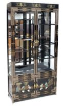 A modern Chinese black lacquer and Chinoiserie decorated display cabinet with a pair of glazed
