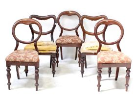 A harlequin set of five balloon-back chairs for restoration (5).