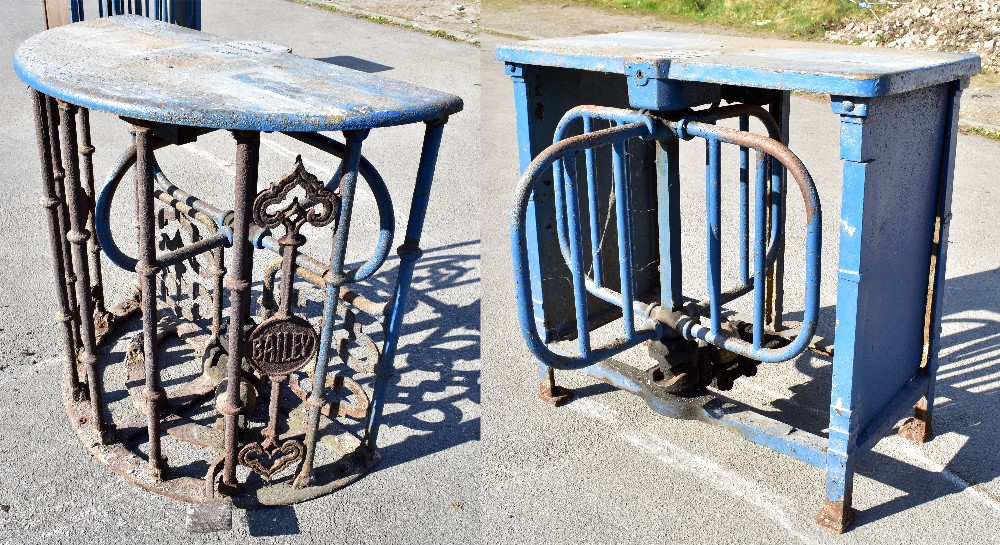MACCLESFIELD TOWN FOOTBALL CLUB INTEREST; two early 20th century cast iron turnstiles by Bailey