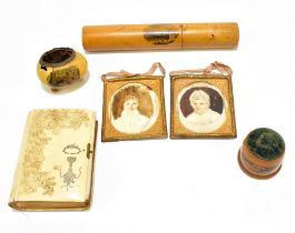 A group of collectors' items to include a Mauchline ware hatpin holder of cylindrical form 'The