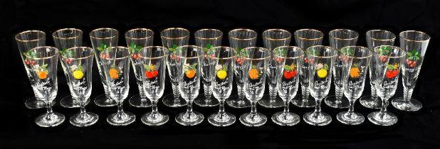 BRITVIC; a cased set of twelve vintage advertising sherry glasses, together with a similar set of